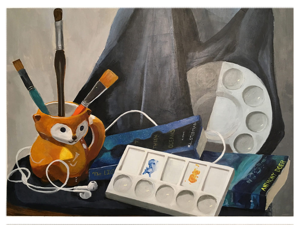 A self-narrative painting of a palette, books, coffee mug, and earphones