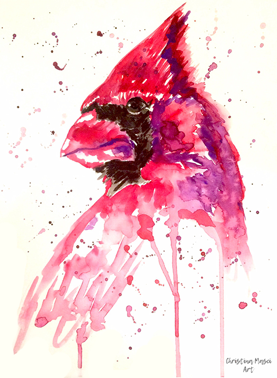 Watercolour painting of a cardinal by Nina Masci