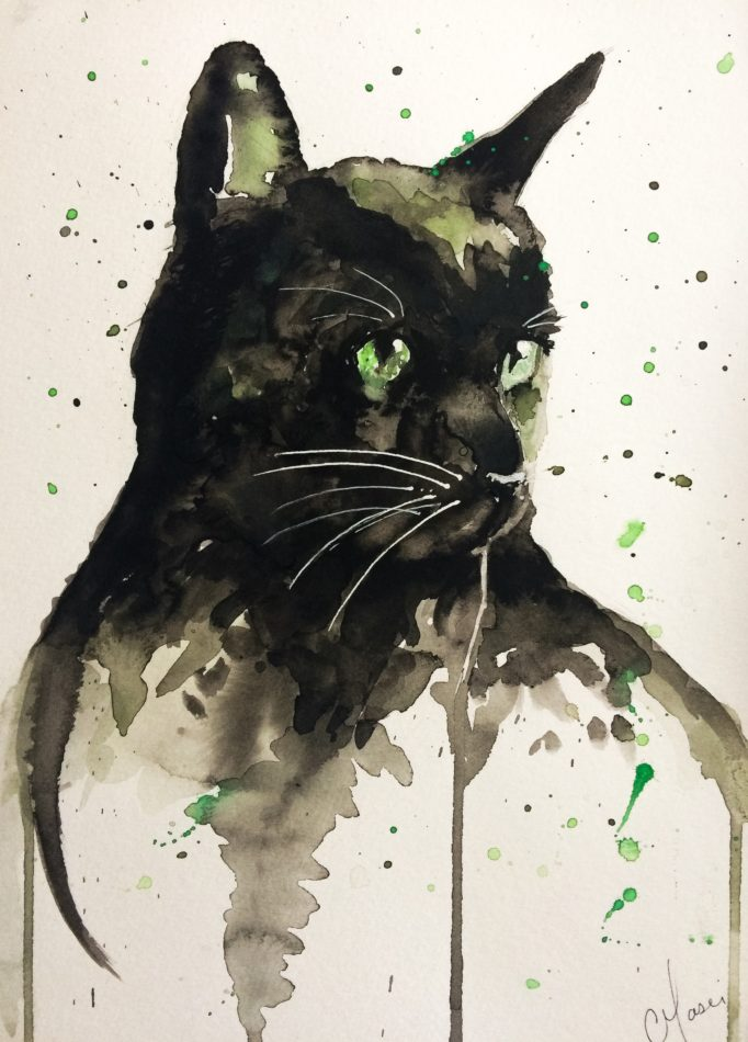 Jazz the Cat -a watercolour painting of a black cat by Nina Masci