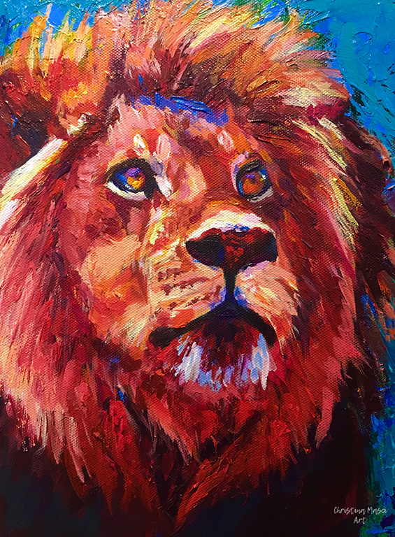 Painting of a maned lion on a blue background