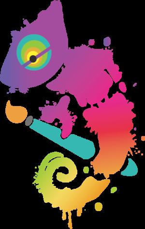 A rainbow chameleon holding a brush - logo of Nina Masci