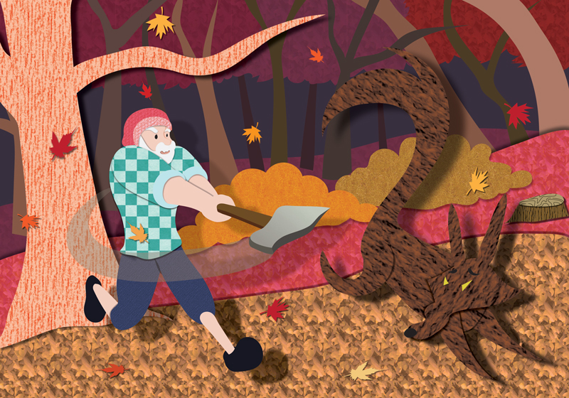 Little Red Riding Hood - Autumn, woodcutter chases away wolf.