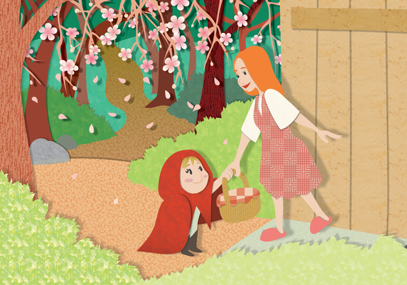Little Red Riding Hood - Spring taking a basket from her mom
