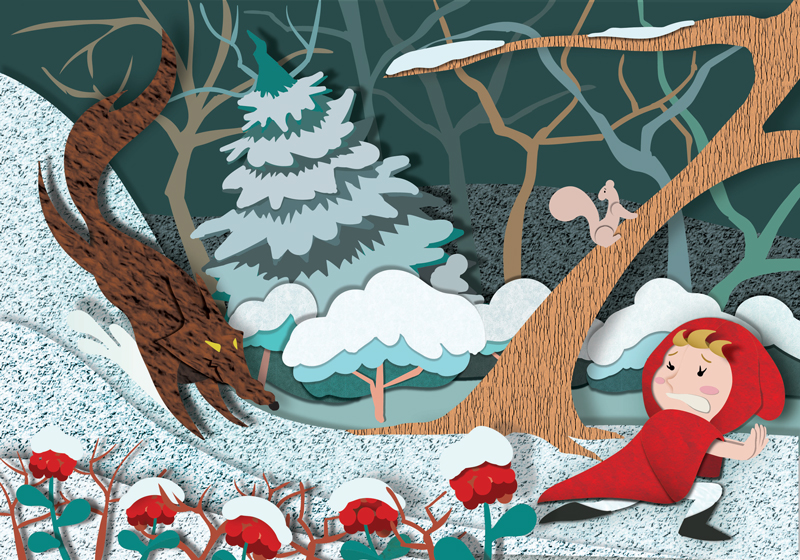 Little Red Riding Hood - Winter, wolf chases Little Red
