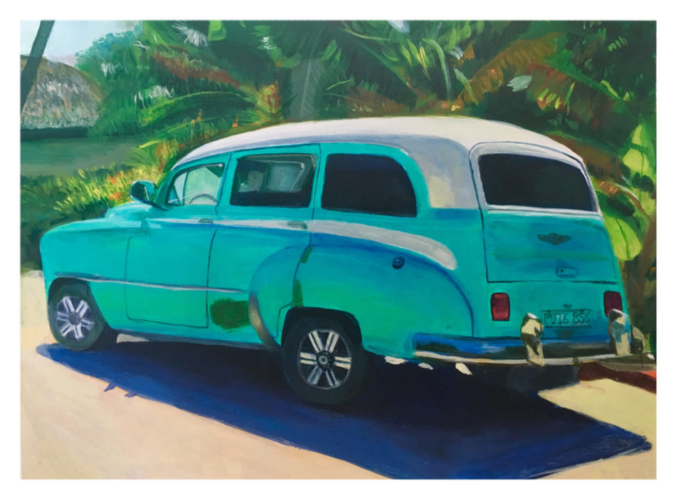 Acrylic painting of a Cuban turquoise car in Cuba