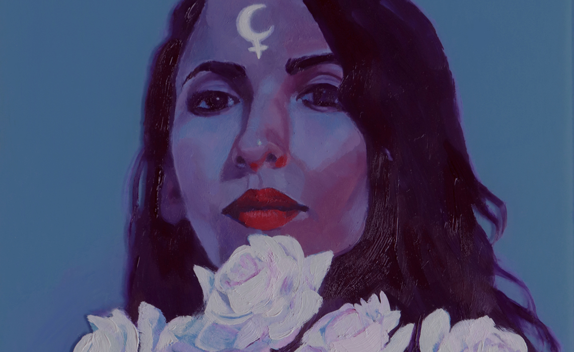 Oil painting of a woman holding white flowers with Lilith's symbol on her forehead